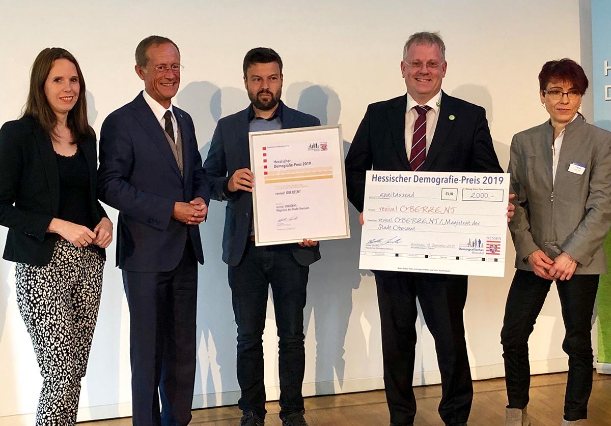 """""""Revive! Oberzent"""" mit dem Hessischen Demografiepreis ausgezeichnet"""
