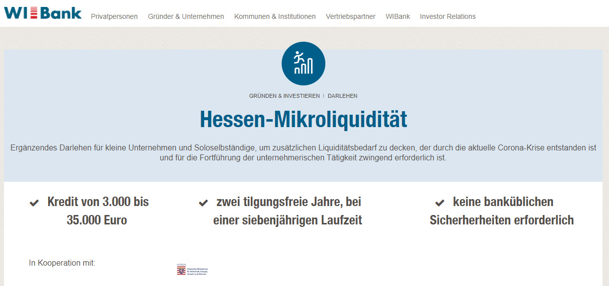 "Corona-Hilfe ""Hessen Mikroliquidität"" der WIBank kommt an"